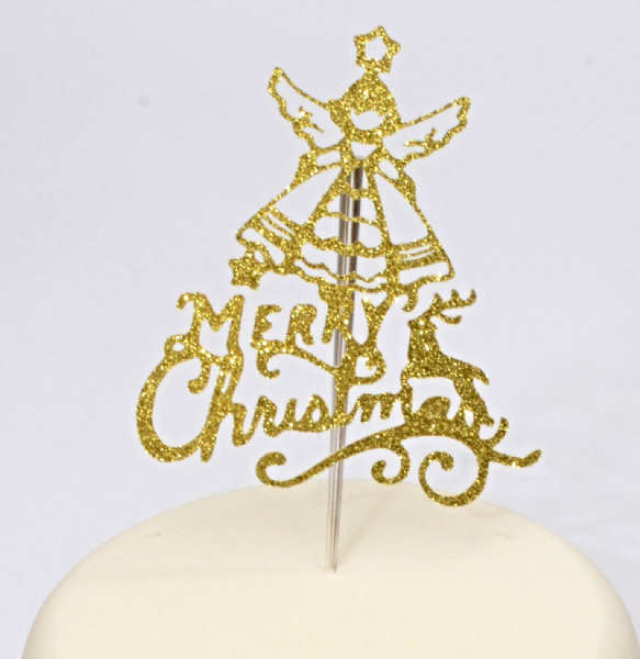 Glitter Merry Christmas Angel topper